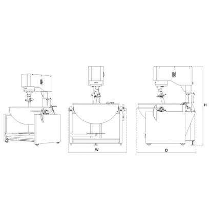 Gas Heated Cooking Mixer - Bowl Tilting Type